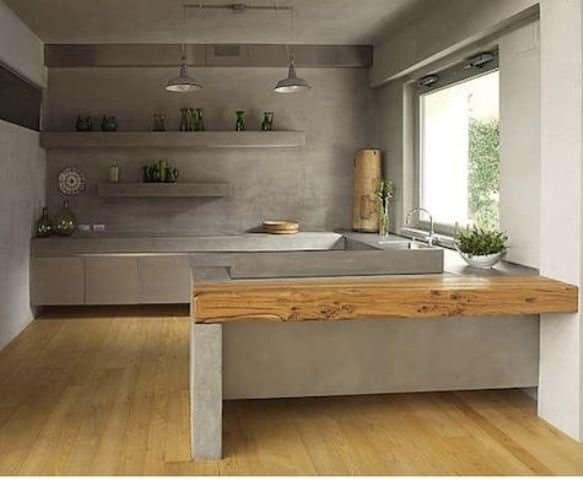 trang trí bếp với sơn bê tông pukaco