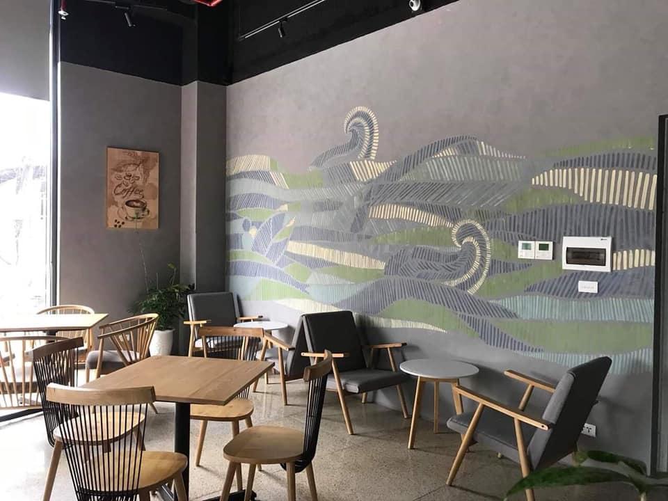 sơn bê tông trang trí quán trà sữa